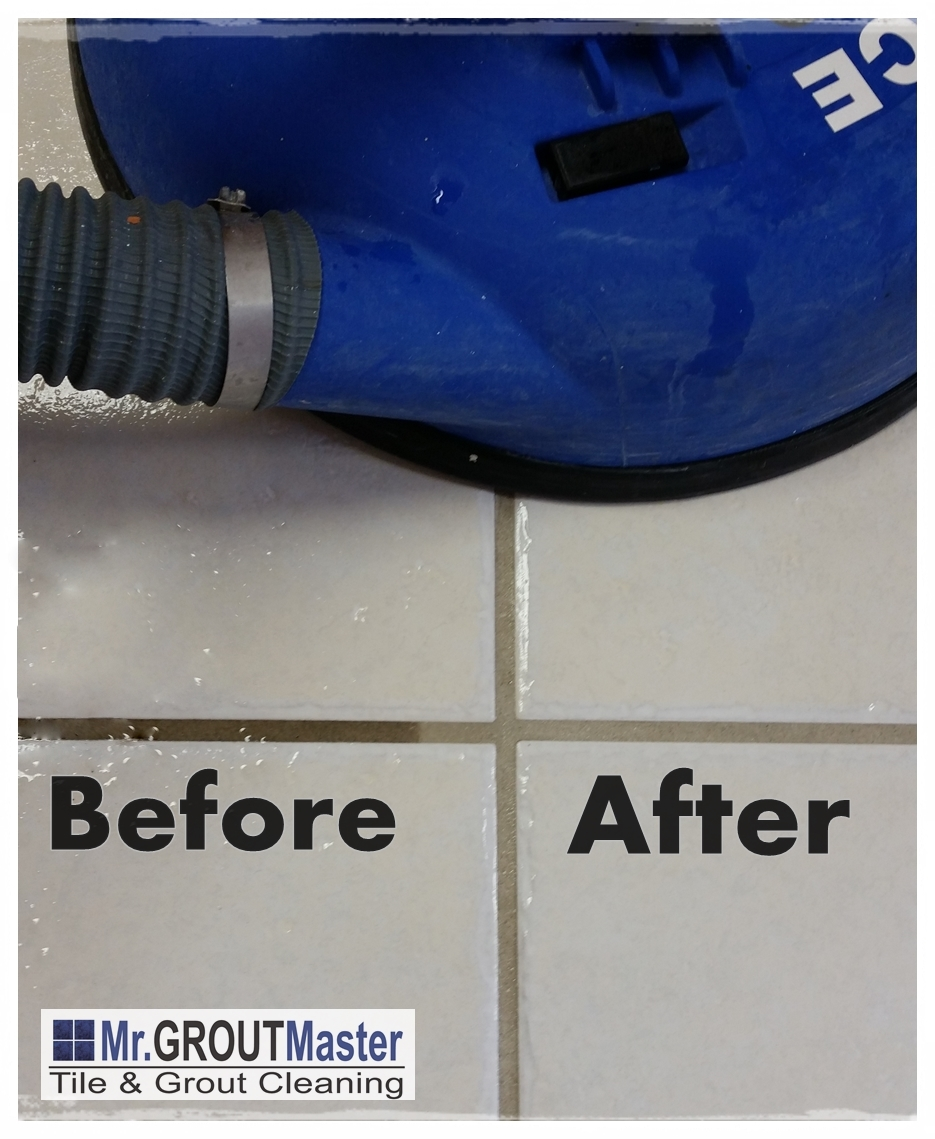 tile and grout cleaning resluts Mr. Grout Master